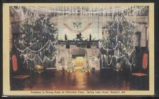 Postcard WALDORF MD Spring Lake Hotel Christmas Tree Fireplace Dining Room 1940s