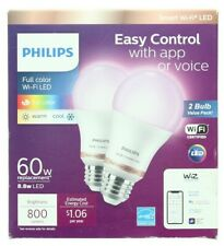Philips 2-Pack Smart Light Bulbs Wi-Fi LED Full Color 800lm 60W Replacement