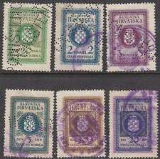 Croatia General Revenues 1940 6 diff used stamps Barefoot cv $11