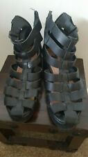 STUNNING  BLACK LEATHER GLADIATOR  SANDALS WITH ZIP AND BUCKLE FASTENINGS UK  5