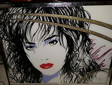 Amazing 1980's Laurel Wall Art Painting Of A Woman's Face On Glass