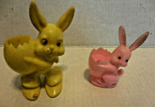 Vintage 1 Plastic Yellow & 1 Pink Bunny Rabbit Candy Container (Lot of 2)