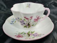 Vintage Shelley Dainty Tea Cup & Saucer Set Pink Floral 10525