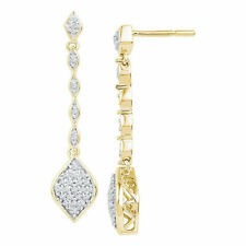 10kt Yellow Gold Womens Round Diamond Cluster Dangle Drop Earrings 1/4 Cttw