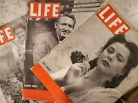 Lot of 3 Vintage Life Magazines: '40s, Spencer Tracy, Hedy Lamarr, Ginger Rogers