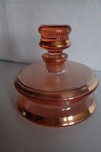 Flacon Karaffe Golddekor Art Deco Rosalinglas Rosalin Glas rosa