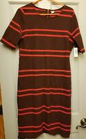 New Old Navy Women's Red Striped Knit short sleeve Dress large petite work