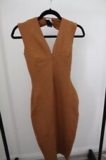 AQAQ Dress Tailored Brown Tan Bodycon Midi Open Back Size 6 Stretchy Party Dress