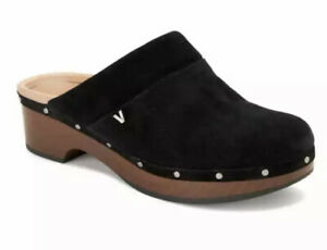 Vionic Women's Kacie Black Suede Clog with Concealed Orthotic Arch Support Sz 6