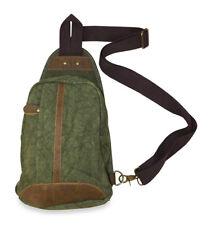 Green Mens Canvas Sling Backpack Shoulder Bag Leather Messenger Suede