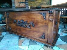 Wooden Blanket Box Coffee Table Trunk Vintage Chest Wooden Ottoman Toy Box (RN3)