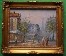 c1950 Paris Eiffel Tower : Original Modernist Oil Painting by Caroline Burnett