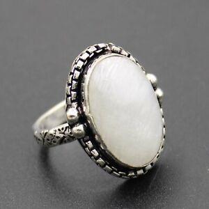 925 Silver Plated Rainbow Moonstone Handmade Ring Size 8 US Jewelry RJ176-56