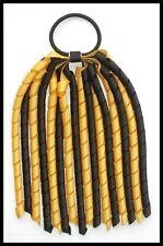 BLACK YELLOW GOLD SCHOOL UNIFORM KORKER CORKER CURLY HAIR PONYTAIL LONG STREAMER
