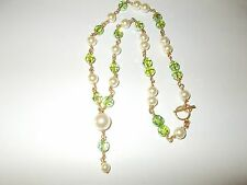 """Pearl & Green Swarvoski Crystal Beads 1/2014K Gold Filled 18"""" Chain Necklace"""