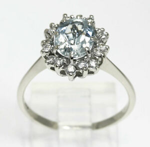 Diamond aquamarine halo ring 14K white gold oval round brilliant 2.10CT sz 8 1/2