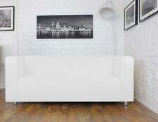 Slip cover for Ikea Klippan 2 seat sofa White Faux leather fabric