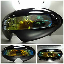 SPACE ROBOT PARTY RAVE COSTUME CYCLOPS FUTURISTIC SHIELD SUN GLASSES Black Frame