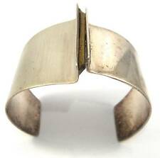 """Large and Wide Vintage Sterling Silver Modernist Cuff Bracelet 6.75"""""""