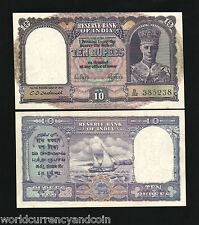 INDIA 10 RUPEES P24 1943 KING GEORGE VI BOAT UNC INDIAN MONEY BILL BANK NOTE