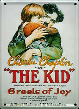 "Charlie Chaplin ""The Kid"" metal postcard / fridge magnet 11cm x 8cm"