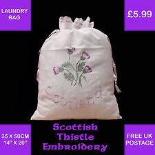 Scotland Thistle Embroidered Gift Sack Laundry Shoe Bag Ivory Storage C240