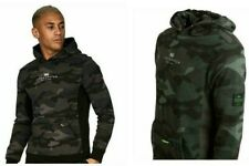 Mens CROSSHATCH Pull Over Camouflage Black Green Hooded Hoodie Top Sweatshirt
