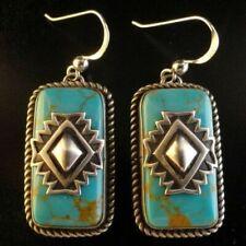 Vintage 925 Silver Turquoise Gems Ear Stud Hoop Dangle Earrings