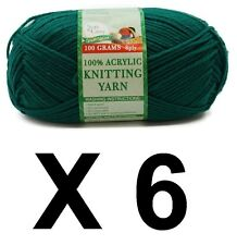Knitting wool 6 x 100g acrylic yarn 8ply Dark Green 100% Brand New