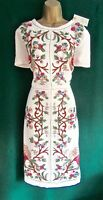 New MONSOON 10 12 14 Ivory Floral Linen LILOU Embroidered Tunic Shift Dress RARE