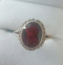 9Ct Yellow Gold Ring With Garnet Facted Stone Size O
