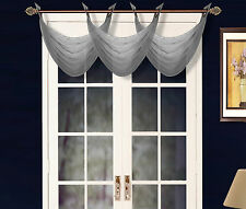 1 ELEGANT GROMMET VOILE SHEER VALANCE SWAG TOPPER WINDOW DRESSING K36 D.GREY