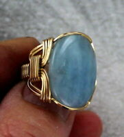 Aquamarine Gemstone Ring in 14kt Rolled Gold  Wire Wrapped Size 5 to 15