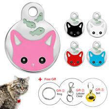 Personalized Pet Cat Id Collar Tags Round Cat Face Disc Engraved Free with Bell
