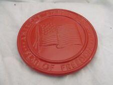 "Frankoma Trivet, America's Stars & Stripes, Flag of Freedom, Orange, 6-1/2"""