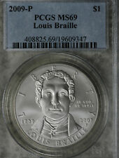 2009-PLouis Braille Commemorative Silver Dollar - PCGS MS69!!