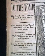 ULYSSES S. GRANT General & President Death BURIAL w/ Prints 1885 Old Newspaper