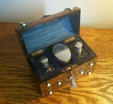 GORGEOUS VICTORIAN WALNUT PERFUME BOX BRASS MOUNTS & 3 SILVER TOP BOTTLES c.1870