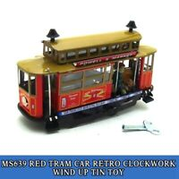 MS639 Red Tram Car Retro Clockwork Wind Up Tin Toy w/Box