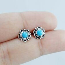 925 Sterling Silver Tiny Turquoise Vintage Southwest Inspired Boho stud earrings