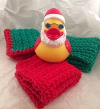Christmas Santa Rubber Ducky Cotton Washcloth Handmade Bath Gift Set Free Ship