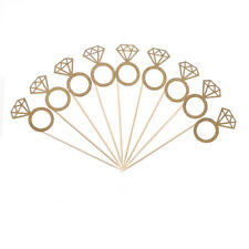 10pcs Diamond Ring Cupcake Toppers Engagement Wedding Party Table Decoration@@