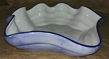 "Style Eyes Baum Bros Blue Ruffled Bowl ~ Rare ~ 13 3/4"" x 2 1/2"""