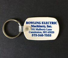 Vintage Keychain BOWLING ELECTRIC MACHINERY Key Fob Ring CAMDENTON, MO.