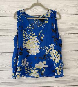 Liz Claiborne Career Floral Sleeveless Top Blouse Blue Tiered Hem Size XL