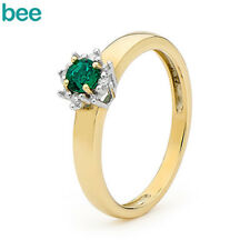 Classic Natual Diamond Dress Emerald 9k 9ct Solid Yellow Gold Cluster Rings