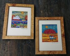 2 FRAMED EMBROIDERED TEXTILE COLLAGES BY M CATANO, SIDNEY AUSTRALIA LANDSCAPES
