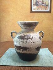 Ceramic Mexican Planter Pottery Plant Pot Holder  Round Handles Antiqued 12x11x9