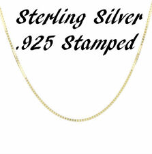 14K Gold Plated Over 925 Sterling Silver 1mm BOX Chain Necklace Solid Italian