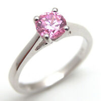 Pink Sapphire Diamond-Unique 1ct Solitaire Ring Solid Silver